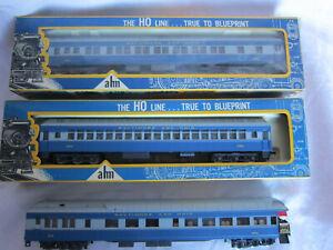 HO AHM Lighted Coach Pullman Balcony Passenger Car B&O Blue (2) Original Boxes