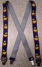 "Suspenders Children 1""x30"" FULLY Elastic Rubber Duckies NEW Yellow on Navy"