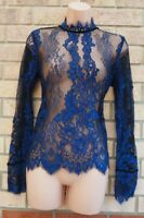 H&M BLUE BLACK FLORAL LACE HIGH NECK LONG SLEEVES PARTY SHEER TOP BLOUSE 8 S
