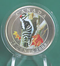 2008 CANADA 25 cent Coloured Coin - Downy Woodpecker- complete