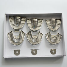 3 Pairs Stainless Steel Dental Impression Trays of Dental Material with holes