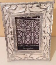"""NEW SHABBYCHIC Handcrafted WOOD Art DecorORNATE IVORY &SILVER PICTURE FRAME 4X6"""""""