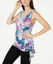 NEW Ideology Women's Hibiscus Floral Sleeveless Side Tie Top Gray Size XS