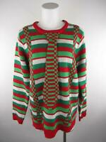 Jolly Sweaters Women's sz L Multicolor Striped Christmas Tie Pullover Sweater