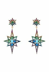 Large Pink Multicoloured Colourful Northern Star Burst Rose Gold Stud Earrings