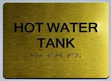 New listing Hot Water Tank Sign - Gold(Aluminium, Gold/Black,Size 5x7).(ref1820)