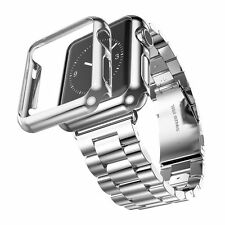 For Watch Series 2 38mm Sliver Stainless Watch Band+Adapter+Case Cover