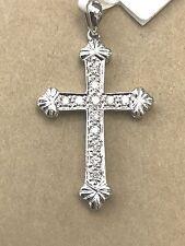14k Solid white gold Natural diamond cross pendant  0.25 ct pave set  cute