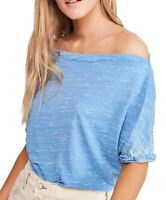 Free People Women's Blouse Dusk Blue Size Small S Off-Shoulder Solid $58 #157
