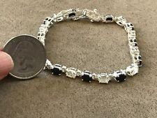 "Moissanite  Black & Clear Sterling Silver Rhodium plated 925 Tennis Bracelet 7"""