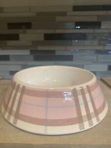 Vintage Burberry Nova Pale Pink & Blue Check Dog Cat Food Water Ceramic Bowl