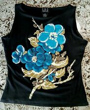 INC Womens Black w/ Blue Flowers Sleeveless Top Size P or XS