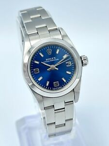 Ladies Rolex Oyster Perpetual 76080 24mm Arabic 3 6 9 Blue Dial Oyster Bracelet