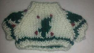 Extra small XS Christmas Tree Knit Teddy Bear doll Sweater Clothing