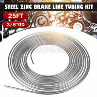 25 Foot Coil Roll Coil of 3/8'' OD Steel Zinc Silver Brake Line Fuel Tubing Kit