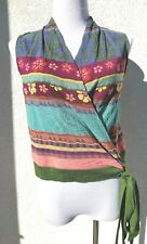 CATHERINE ANDRE MULTI COLORED FLORAL SLEEVELESS WRAP TOP NWOT