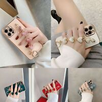 Bling Plating Heart TPU Case Cover w/Strap For iPhone 12 11 Pro Max XS XR 7 8