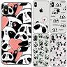 For iPhone 5 6 6S 7 8 Plus X Panda Design Slim Soft TPU Clear Phone Case Cover