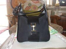 Gucci classic black canvas & leather shoulder bag handbag tote baguette purse