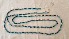 "Vintage Blue Mercury Glass Bead Garland - Christmas - 94"" Strand"