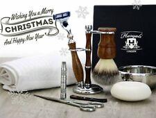 Complete Wood Shaving Set Brush, Razor, Nose Trimmer, Towel, Scissors, Bowl Soap