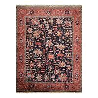 """9'1""""x11'5"""" Hand Knotted Wool Serapii Traditional Oriental Area Rug Midnight Blue"""