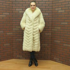 ladies SO NICE! PLUSH real TAWNY CREAM BLUSH white FOX FUR COAT xsm petite