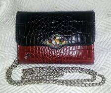 BRIGHTON Ladybug Bumblebee WALLET on a CHAIN Red & Black Croc LEATHER  **RARE**