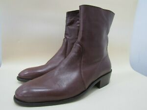 Vintage Mario Calugi Men's Brown Leather Ankle Zip Boots Size 9.5 Made in Italy