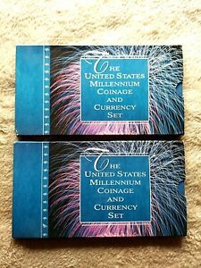 "2000 U S MILLENNIUM COINAGE AND CURRENCY SETS  ""2 WITH CONSECUTIVE SERIAL #'S !!"