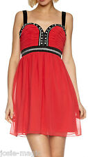 Lipsy UK 8 Embroidered/Embellished Babydoll Christmas Party Dress Cherish Red