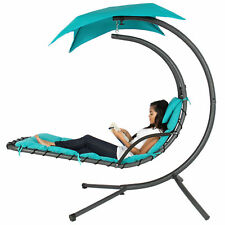 Hanging Chaise Lounger Chair Arc Stand Air Porch Swing Hammock Chair Canopy Teal