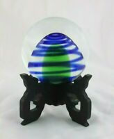 Glass Paperweight Hand Blown with Stand Green Cone with Blue Swirl