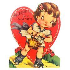 1940s Girl Roller Skating Valentine Be A Good Skate Valentine X-907