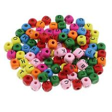 100pcs Wooden Alphabet Letters Cube Loose Beads for Crafts Decoration 10mm