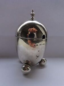 EGG SHAPED MUSTARD JAR STERLING SILVER BIRMINGHAM 1876 MARKED TOP QUALITY ITEM