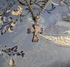 Rhinestone Cross Charm Chain Silver 20 Inch Necklace**~Free Ship