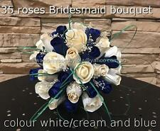 wedding bridesmaid bouquet wooden roses colour blue and cream/white Artificial.