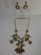Banana Republic Large Crystal Mutli Color Fan Necklace Earring NIP $89.50 Set 2