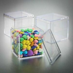 """50-300 Acrylic 2 1/8"""" Square Clear Cube Candy Favor Box DIY Wedding Party"""