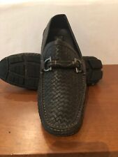 Pre Owned Salvatore Ferragamo Parigi Chocolate Brown Woven Leather Loafers 9.5EE