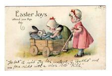 Postcard EASTER JOYS Bunny Rabbit Baby Carriage Wagon Girls Phillips Ashland WI
