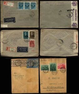 WWII HUNGARY 5 Censored Covers to Germany, Australia, Switzerland, S.Africa
