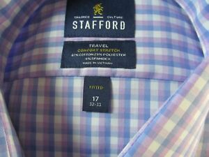 NWT STAFFORD COMFORT STRETCH DRESS SHIRT Fitted, Blue Lilac Double Gingham