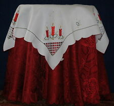 EMBROIDED POLYESTER SMALL SQUARE FESTIVE CHRISTMAS TABLE CLOTH JOHN LEWIS