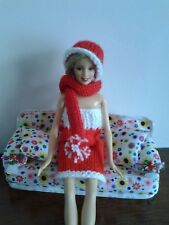 HAND KNITTED DOLLS HAT AND SCARF SET.9 COLOURS *** ALL REDUCED ***