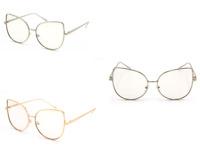 WOMEN CLASSIC VINTAGE RETRO CAT EYE Clear Lens Glasses Gold Frame Sunglasses
