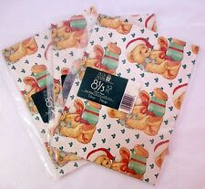 Vintage Wrapping Paper Christmas Teddy Bear 3 Packages