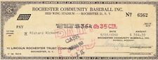 1960 ROCHESTER RED WINGS MINOR LEAGUE BASEBALL CHECK RICHARD RICKETTS SIGNED
