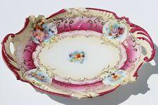 1900 Antique ART NOUVEAU German Porcelain Bowl Painted Flowers & Scrolls